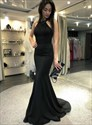 Black Mermaid Halter Beaded Embellished Long Prom Dress With Open Back