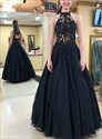 Black Embroidered Lace Sheer Illusion Bodice Backless Long Prom Dress