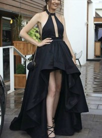 Black High-Neck Halter Sleeveless Keyhole Front High Low Prom Dresses
