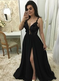 Black Chiffon Spaghetti Strap Lace Applique Prom Dress With Side Split