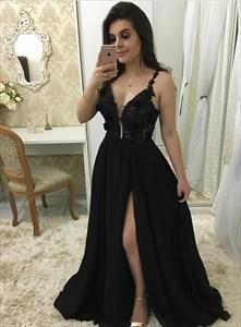 Black Chiffon Spaghetti Strap Lace Applique Prom Dress With Side Split