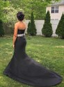 Black Satin Mermaid Strapless Sweetheart Prom Dress With Beaded Bands