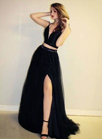 Black Two Piece Spaghetti Straps Beaded Waist Prom Dresses With Split