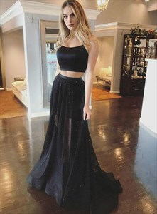 Black Two Piece Spaghetti Straps Backless Prom Dresses With Cross Back