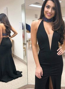 Black Mermaid High Neck Jeweled Halter Backless Prom Dress With Split