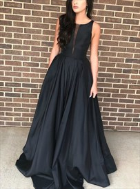 Black Satin Deep Plunge Neckline Sleeveless Prom Dresses With Pocket