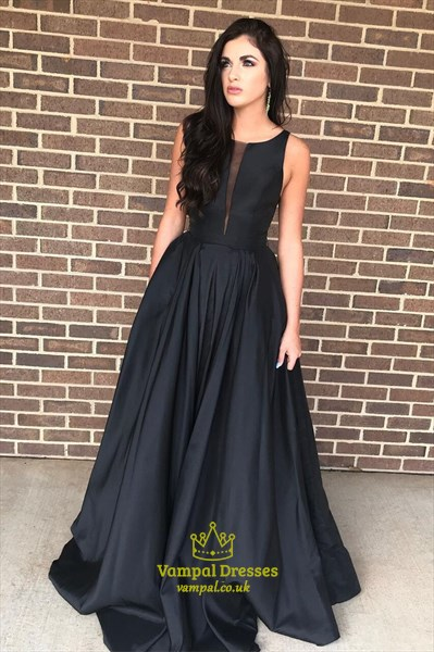 Black Satin Deep Plunge Neckline Sleeveless Prom Dresses With Pocket