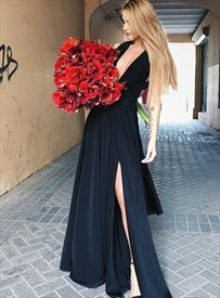 Black Chiffon Deep V-Neck Side Split Long Prom Dresses With Cross Back
