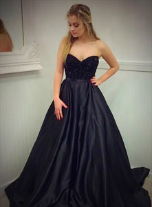 Black Satin A Line Strapless Sweetheart Prom Dress With Beaded Bodice