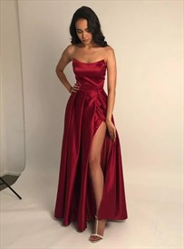 Burgundy A-Line Strapless Satin Long Prom Dress With Slits On The Side
