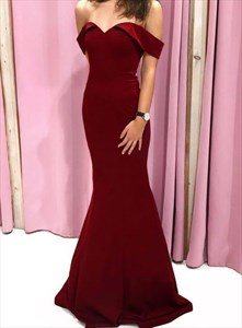 Burgundy Mermaid Off The Shoulder Strapless Satin Prom Formal Dresses