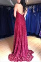 Burgundy V Neck Lace Halter Backless Long Prom Dresses With Side Split