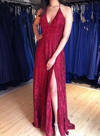 Burgundy V Neck Lace Halter Backless Long Prom Dresses With Side Split