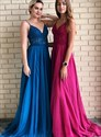 Burgundy Chiffon V Neck Spaghetti Straps Lace Applique Long Prom Dress