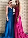 Burgundy Chiffon V Neck Spaghetti Straps Lace Applique Long Prom Dress