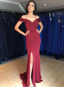 Burgundy Off The Shoulder Sheath Satin Long Prom Dress With Side Split