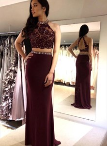 Burgundy Two Piece Lace Applique Halter Prom Dress With Beaded Bodice