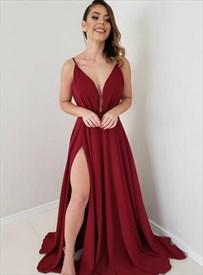 Burgundy Chiffon V-Neck Spaghetti Strap Backless Prom Dress With Split
