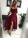 Burgundy High Low Lace V-Neck Keyhole Back Prom Dress With Long Sleeve