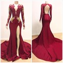Burgundy Mermaid V-Neck Lace Applique Backless Prom Dress With Sleeves