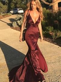 Burgundy Deep V Neck Mermaid Long Evening Dress With Criss Cross Back