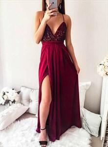 Burgundy Chiffon Spaghetti Straps Sequin Bodice Backless Prom Dresses