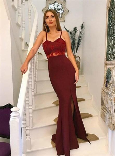 Burgundy Mermaid Lace Applique Satin Spaghetti Straps Long Prom Dress