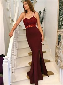 Burgundy Mermaid Lace Applique Satin Spaghetti Straps Long Prom Dress