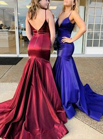 Burgundy Mermaid V Neck Spaghetti Strap Backless Prom Dress With Train