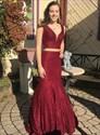 Burgundy Mermaid Two Piece Lace Overlay V-Neck Sleeveless Prom Dresses