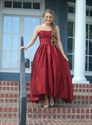 Amazing Burgundy Satin Strapless High Low Prom Party Dress With Pocket