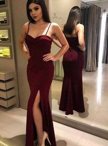 Burgundy Mermaid Satin Spaghetti Straps Long formal party Dresses