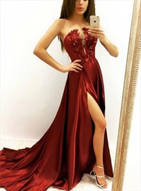 Burgundy Strapless Plunge V Neck Floral Applique Prom Dress With Split
