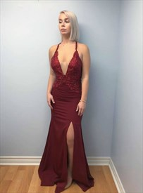 Burgundy V Neck Lace Applique Backless Prom Dress With Criss-Cross Back