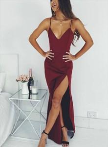 Burgundy V Neck Spaghetti Straps Floor-Length Party Dresses With Split