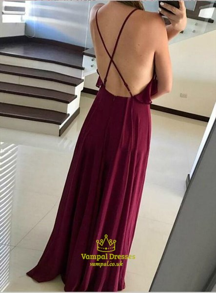 Burgundy Chiffon Spaghetti Straps Ruffle Neckline Backless Prom Dress
