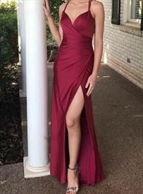 Burgundy Mermaid Pleated Bodice Spaghetti Strap Prom Dress With Split
