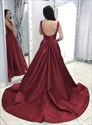 Burgundy Deep Plunge V-Neck Backless Satin Long Prom Dress With Train