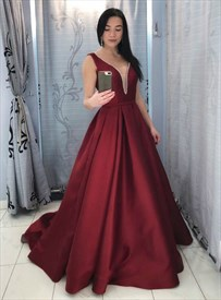 Burgundy Deep Plunge V-Neck Backless Satin Long Prom Dress With Train