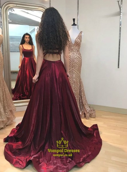 Burgundy A-Line Spaghetti Strap Backless Long Prom Dresses With Pocket
