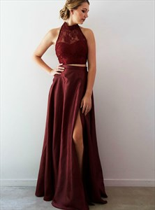 Burgundy Two Piece Halter Lace Bodice Long Prom Dress With High Split