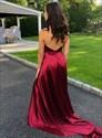Burgundy A-Line Deep V Neck Halter Backless Prom Dress With Side Split