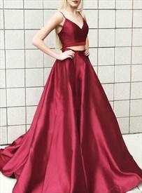 Burgundy A-Line Two Piece V Neck Spaghetti Strap Satin Long Prom Dress