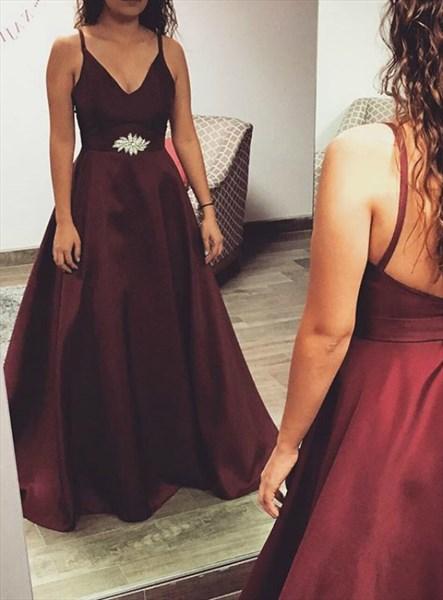 Burgundy V Neck Spaghetti Strap Satin Long Prom Dresses With Open Back