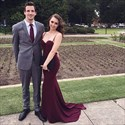Burgundy Sweetheart Mermaid Spaghetti Strap Long Prom Dress With Train