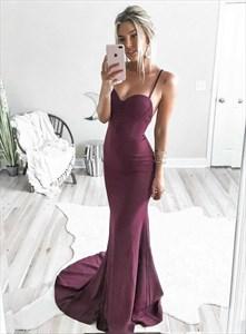 Burgundy Sweetheart Mermaid Spaghetti Strap Long Prom Dress With Train