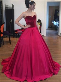 Burgundy Strapless Sweetheart Satin Floor Length Ball Gown Prom Dress