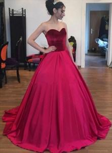 Burgundy Strapless Sweetheart Satin Floor Length Ball Gown Prom Dress