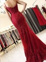 Burgundy Embroidered-Lace-Applique Spaghetti Strap Mermaid Prom Dress