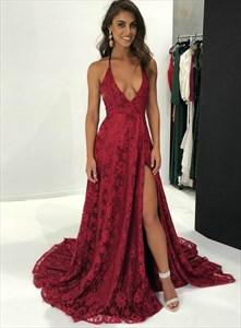 Burgundy Deep V-Neck Lace Overlay Backless Prom Dress With Side Split